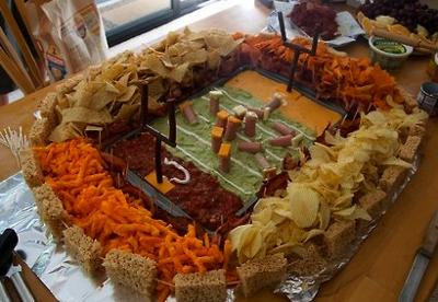 Football Appetizers Shaped Like A Stadium