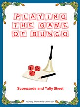 Bunco Score Sheets