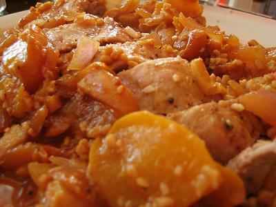 Tenderloin w/Caramelized Onion and Peaches