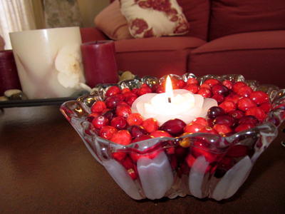 Cranberry Centerpiece with Floating Candle